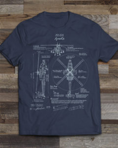 AH-64 Apache Blueprint T-shirt by - Squadron Posters