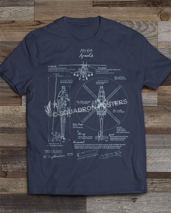 AH-64 Apache Blueprint T-shirt by - Squadron Posters