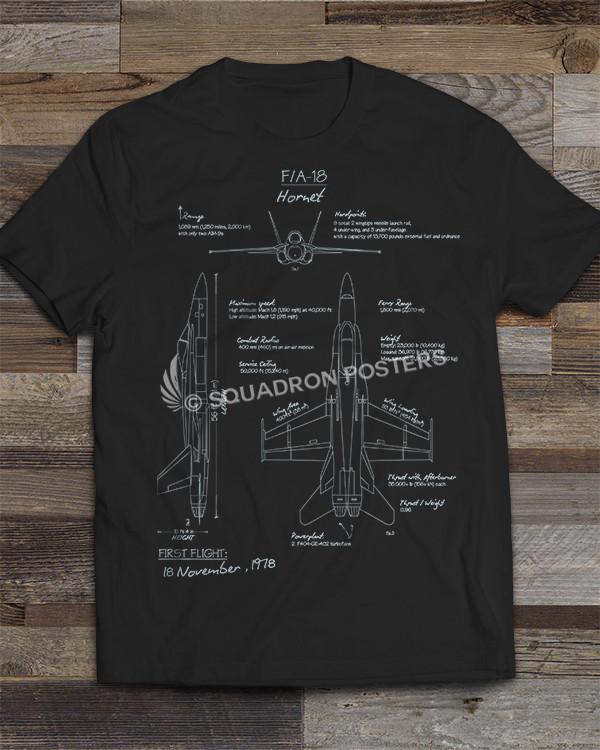 F-18 Blueprint T-shirt