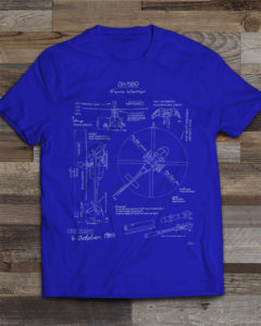 OH-58D Kiowa Blueprint T-Shirt Royal Blue